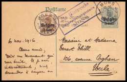 43062 Belgique (Belgium) Belgien Mons 1916 Occupation Allemande Entier Postal Stationery Carte Postale Guerre 1914/1918 - Postmark Collection