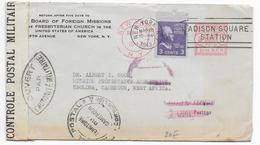 "1943 - USA/CAMEROUN - ENVELOPPE De NEWYORK Avec EMA ""RETURNED FOR ADDITIONAL POSTAGE"" => EBOLOWA 2 CENSURES +VOIR DOS !! - Postmark Collection (Covers)"