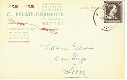 CP Publicitaire - METTET 1953 - C. PALATE-CORNEILLE - Imprimerie - Librairie - Editions - Mettet