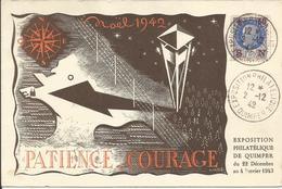 1942 - N° 552 Oblitéré (o) Sur Carte N° 442 EXPO QUIMPER NOEL 1942 - France