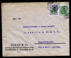 A6252) DR Infla Brief Hamburg 18.09.21 N. Lüderitzbucht / Südwestafrika SWA - Deutschland