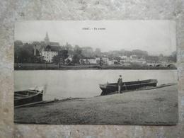 CPA. GRAY - En Amont - écrite TIMBRE - BARQUE - Gray