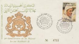 Enveloppe  FDC  1er  Jour  MAROC   50éme  Anniversaire  Du  Roi   HASSAN  II    CASABLANCA  1979 - Marocco (1956-...)