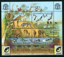"""BF** De 2002 De 4 Timbres Gommés """"250e Anniversaire Du Jardin Zoologique De Schönbrunn"""" - Blocchi & Fogli"""