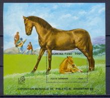 Burkina Faso 121 Bloc N° 30 Cheval (chevaux Horse Horses) Argentina 1985 - Pferde