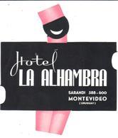 ETIQUETA DE HOTEL  - HOTEL ALHAMBRA  -MONTEVIDEO -URUGUAY - Etiquetas De Hotel
