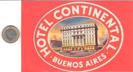 ETIQUETA DE HOTEL  - HOTEL CONTINENTAL  -BUENOS AIRES - Etiquetas De Hotel