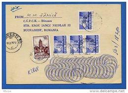 Let223 Roumanie CP 1980 Recommandée Pour La France - 1948-.... Republics