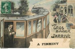 WW 42 FIRMINY. J'arrive En Train Dans La Gare - Firminy