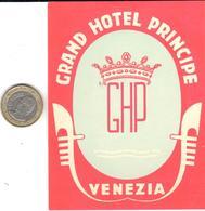 ETIQUETA DE HOTEL  -GRAND HOTEL PRINCIPE   -VENEZIA - Etiquetas De Hotel