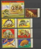 Guinée équatoriale Guinea 041 Préhistoire Prehistorics Dinosaure Dinausaurs N°1352/58 + Bloc 304 Série Complète MNH ** - Guinée Equatoriale
