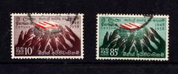 CEYLON      1958    10th  Anniv  Of  Human  Rights   Set  Of  2        USED - Sri Lanka (Ceylon) (1948-...)