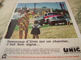 ANCIENNE PUBLICITE LES CAMIONS  UNIC  1963 - Trucks