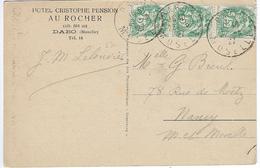 BLANC N°111 IIB Bande De Trois Sur CP Dabo Oblitération 22 Juin 1927 - Francobolli In Bobina