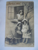 Fantaisie Meisjes In De Winter Pels Fillettes En Hiver Fourrure Joyeux Noël PMB 5000 Gelopen Circulée 1911 Antwerpen - Kerstmis