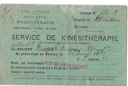 03- Carte De Convocation Au Service De Kinésithérapie à L'Ets. Thermal De Vichy-service De Pysiothérapie (sans H)- - Guerra Del 1914-18