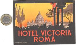 ETIQUETA DE HOTEL  - HOTEL VICTORIA  -ROMA - Etiquetas De Hotel
