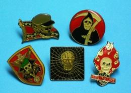 5 PIN'S  //  ** LIVE TO RIDE / RIDE TO LIVE / MAC SOC / TETES DE MORTS ** - Pin's