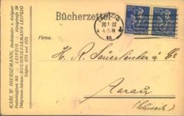 1922, 120 Pfg. Bergarbeiter, Waag. Paar Auf Bücherzettel Ab LEIPZIG 13 In Die Schweiz. - Deutschland