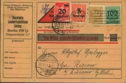 1923, Nachnahmekarte Für Zeitungsabo Ab BERLIN SW 25.9.23 Nach Gross Kiesow B. Züssow - Lettres