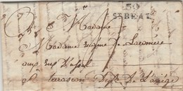 Lettre De Antichan Haute Garonne Marque Postale 30 ST BEAT 4/8/1818 Taxe Manuscrite Pour Tarascon Ariège - 1801-1848: Precursors XIX