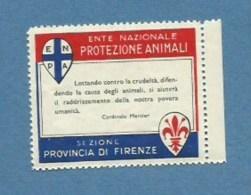ERINNOFILO  ENTE PROTEZIONE ANIMALI SEZIONE FIRENZE CON FRASE DEL CARDINALE MERCIER - Vignetten (Erinnophilie)