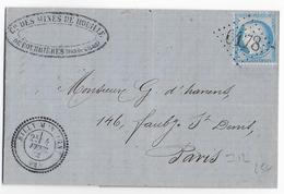 1872 - PAS DE CALAIS - LETTRE Des MINES De COURRIERES + T24 De BILLY-MONTIGNY + GC 6178 - IND 12 ! - Storia Postale