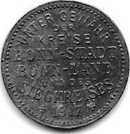 *notgeld Bonn 5 Pfennig 1917 Zn 1792.1 /F 52.1 - [ 2] 1871-1918 : Impero Tedesco