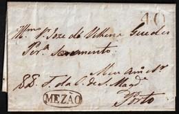 "1824. QUINTA DE SANTA MARINHA A PORTO. MARCA ""MEZAO"" CÍRCULO TINTA ESCRIBIR. PORTEO 30 REIS. MUY BONITA CARTA COMPLETA. - 1862-1884 : D.Luiz I"