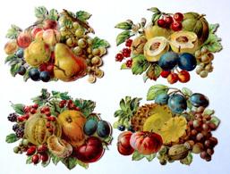 4 CHROMOS DECOUPIS. .   L : 9 /  H : 7 Cm......ASSORTIMENT DE FRUITS - Découpis