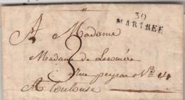 Lettre De Sana Marque Postale 30 MARTRES 28 X 8 Mm Haute Garonne 24/10/1820 Taxe Manuscrite Pour Toulouse - Marcophilie (Lettres)