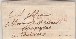 Lettre De Labarthe Marque Postale Rouge VILLEFRANCHE DE LAURAGAIS Haute Garonne 25/7/1822 Taxe Manuscrite à Toulouse - Marcophilie (Lettres)