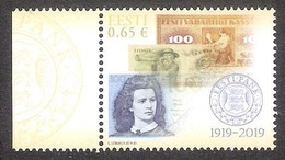 100 Years Of Eesti Pank Estonia 2019 MNH Stamp Banknotes Mi 955 - Monnaies