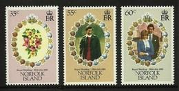 NORFOLK ISLAND 1981 ROYALTY ROYAL WEDDING DIANA MARINE SHELLS SET MNH - Norfolk Island