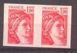 Paire De Sabine 1F Rouge YT 1972 De 1977 Sans Trace Charnière - France
