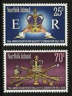 NORFOLK ISLAND 1978 ROYALTY ROYAL CORONATION 25TH ANNIVERSARY SET MNH - Norfolk Island