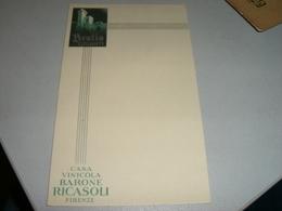 CARTONCINO PUBBLICITARIO CASA VINICOLA BARONE RICASOLI -BROLIO CHIANTI - Menu