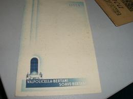 CARTONCINO PUBBLICITARIO VALPOLICELLA BERTANI -SOAVE BERTANI - Menu