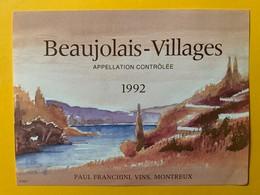 10493 - Spécialité 2 étiquettes Avec Et Sans Impression Beaujolais Village 1992 - Beaujolais