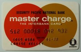 USA - Credit Card - Master Charge - Security Pacific National Bank - Exp 01/72 - Used - Krediet Kaarten (vervaldatum Min. 10 Jaar)