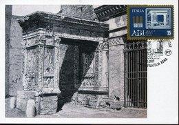 45966 Italia, Maximum 2019 Architecture Roman Arc Of Argentari In Roma,  Arc Romain De Rome - Cartoline Maximum