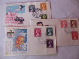 3 FDC De Monaco,Naissance De La Princesse Caroline, 1957,  TTB - FDC