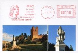 45969 Italia,  Red Meter Freistempel SPECIMEN 2019 Aicam Showing The Painter Giorgione - Poststempel - Freistempel
