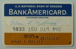 USA - Credit Card - Oregon Bank - Bank Americard - Exp 05/76 - Used - Cartes De Crédit (expiration Min. 10 Ans)