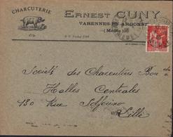 Enveloppe Illustrée Cochon Porc Ernest Cuny Varennes En Argonne Meuse Charcuterie YT Paix CAD 9 6 36 Varennes En A - Marcofilia (sobres)