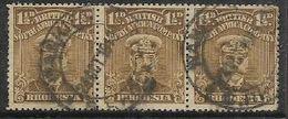 Rhodesia / B.S.A.Co., 1913, GVR, Admiral Head, 1 1/2d, Bistre-brown,Perf 15, Strip Of 3, Used - Southern Rhodesia (...-1964)