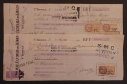 Deux Lettres De Change Des Années 1930 - Manufacture De Bouchons Société Centrale Des Lièges à Saint-Tropez - Cambiali
