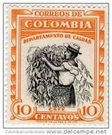 Lote 9k, Colombia, 1956, 10 C, Cafe , Sello Azul,  Coffee Stamp - Colombia