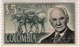 Lote 9e2, Colombia, 1965, Cultivador De Cafe, Manuel Mejia, $ 5, Mula, Coffee Grower, Mule, Stamp - Colombia