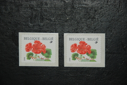 COB R90 & R90a - Géranium (2854) - Paire Avec Les Deux Sortes D'inscription - Rouleaux